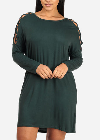 Image of Green Lace Up Sleeve Dress