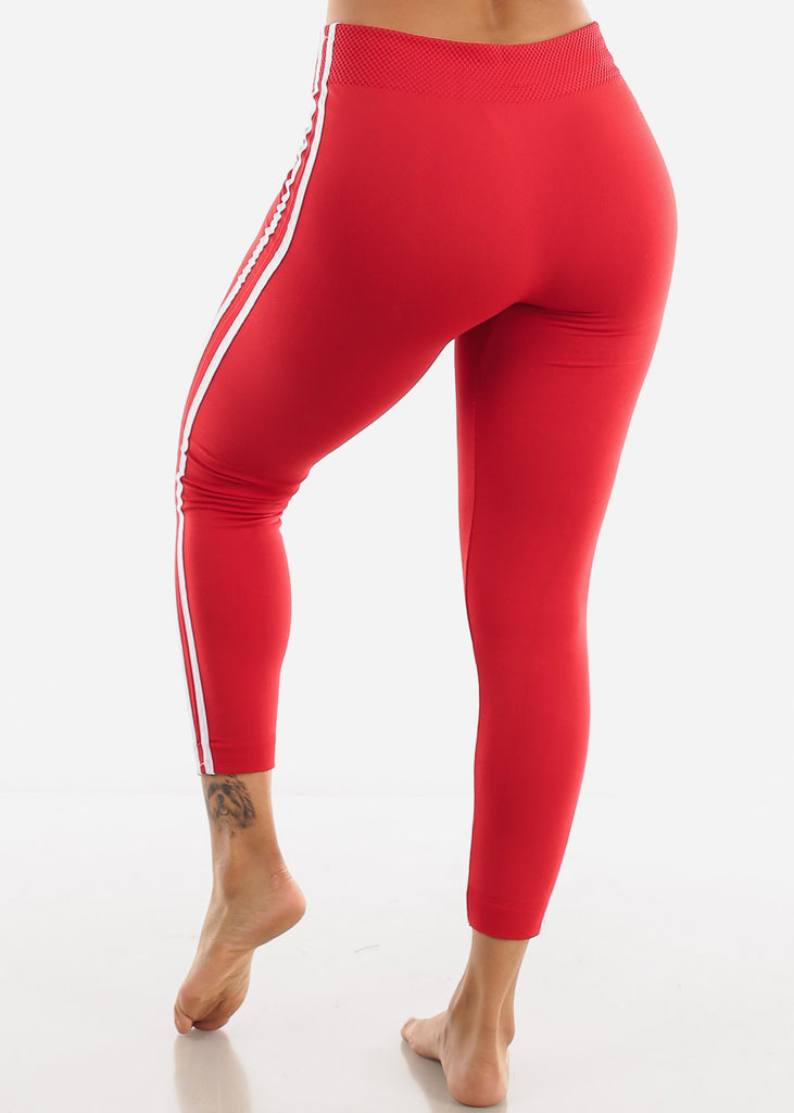 Side Stripe Red Wide Waist Leggings