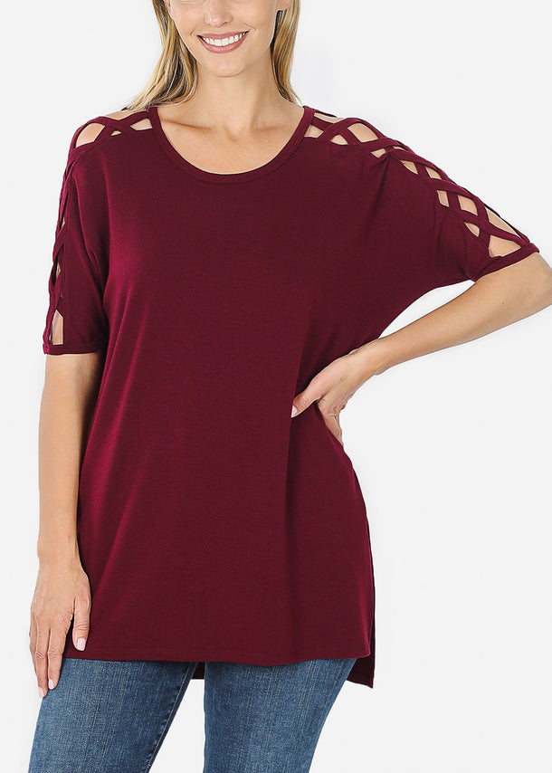 Criss-Cross Shoulder Burgundy Tunic Top