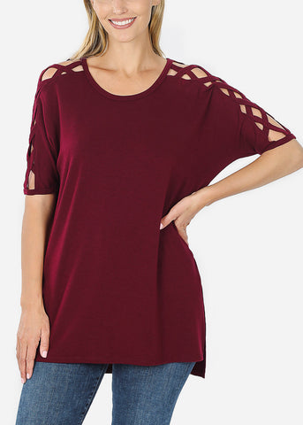 Image of Criss-Cross Shoulder Burgundy Tunic Top
