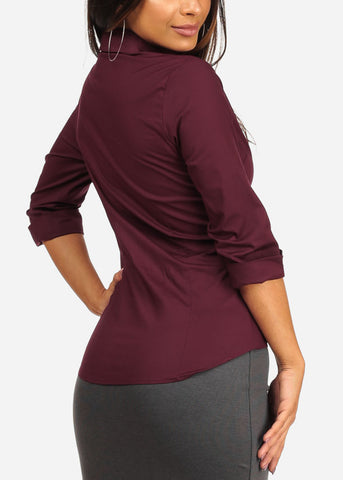 Office Business Wear Button Up 3/4 Sleeve Burgundy Shirt Top