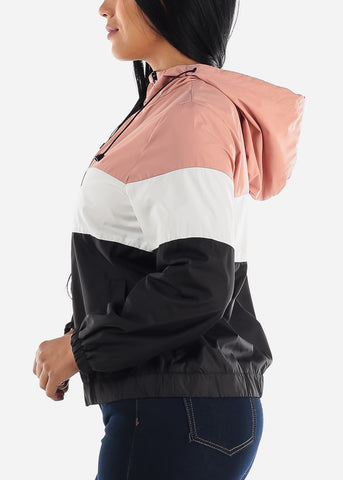 Pink Colorblock Windbreaker Jacket
