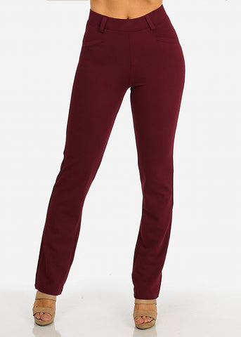 Solid High Waist Dressy Pants (Burgundy)