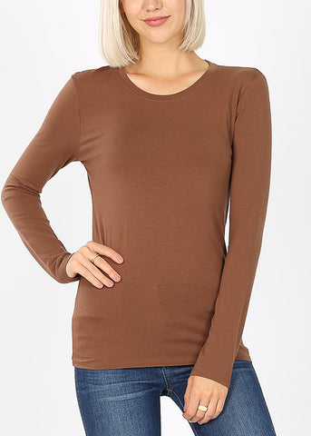 Basic Long Sleeve Brown Top