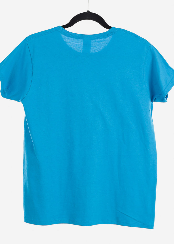 "Light Blue Graphic Top ""Glow Girl"""
