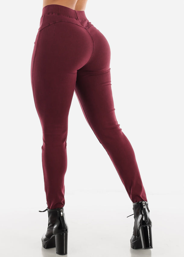 Pull On Butt Lifting Burgundy Jegging Skinny Pants