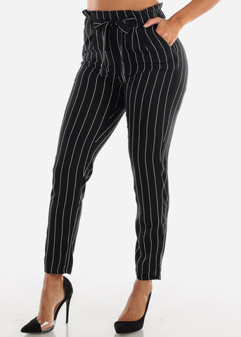 Image of Black Paperbag Stripe Pants