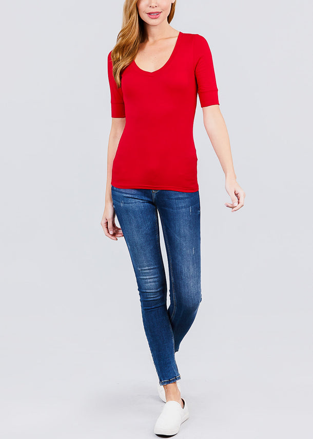 Red Elbow Sleeve V-Neck Top