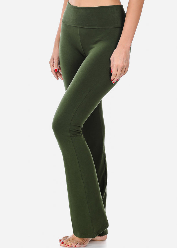 Green Cotton Yoga Pants