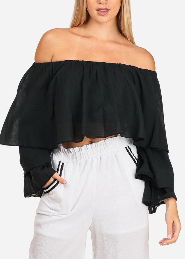 Women's Junior Summer Beach Going Out Lightweight One Size Stylish Sexy Solid Black Crop Top