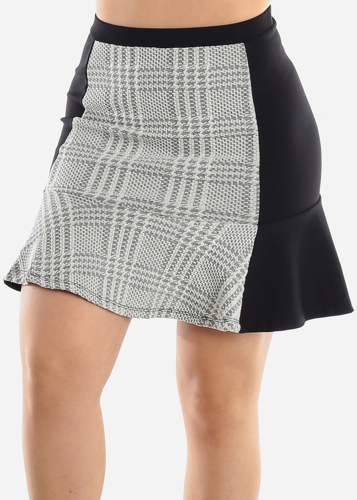 White Plaid Ruffle Mini Skirt