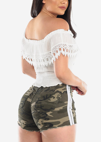 Cute Shirring White Crop Top