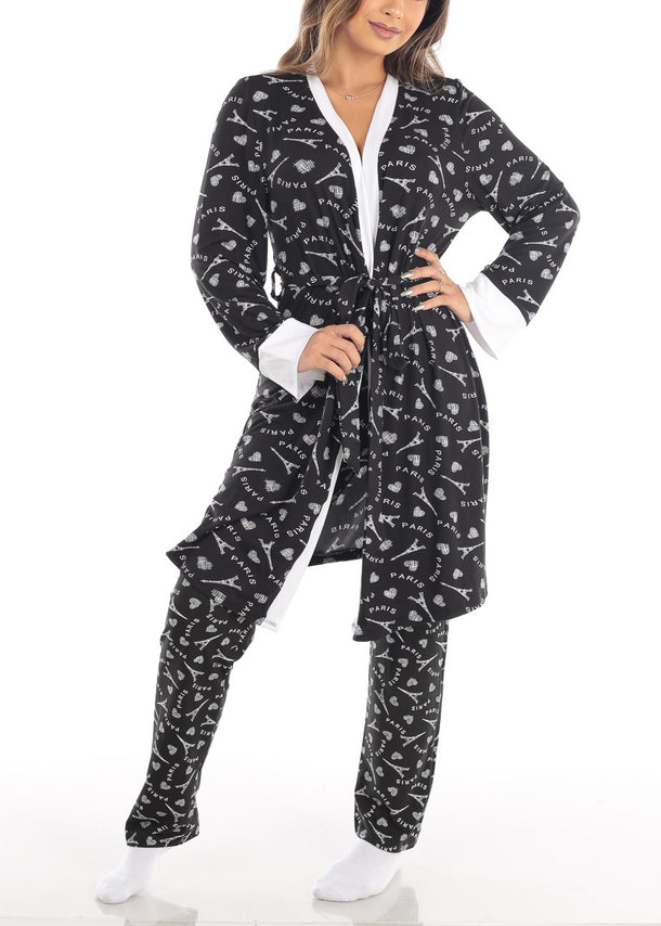 Paris Print Self Tie Black Robe