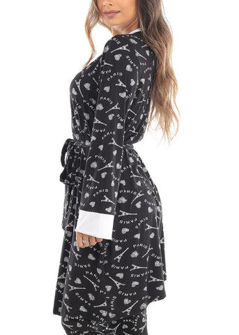 Long Sleeve Open Tie Front Black Paris Graphic Print Sleepwear Robe