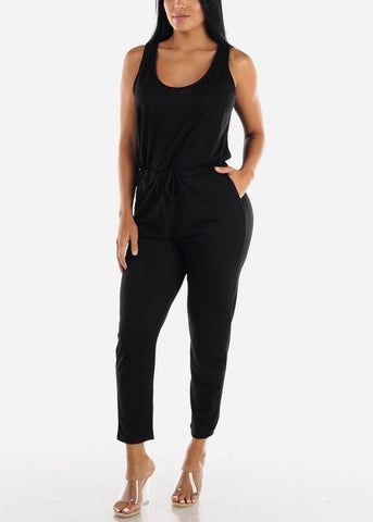 Image of Sleeveless Scoop Neck Black Jumpsuit
