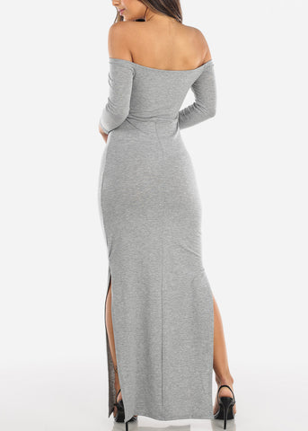 Image of Light Grey Off Shoulder Maxi Dress