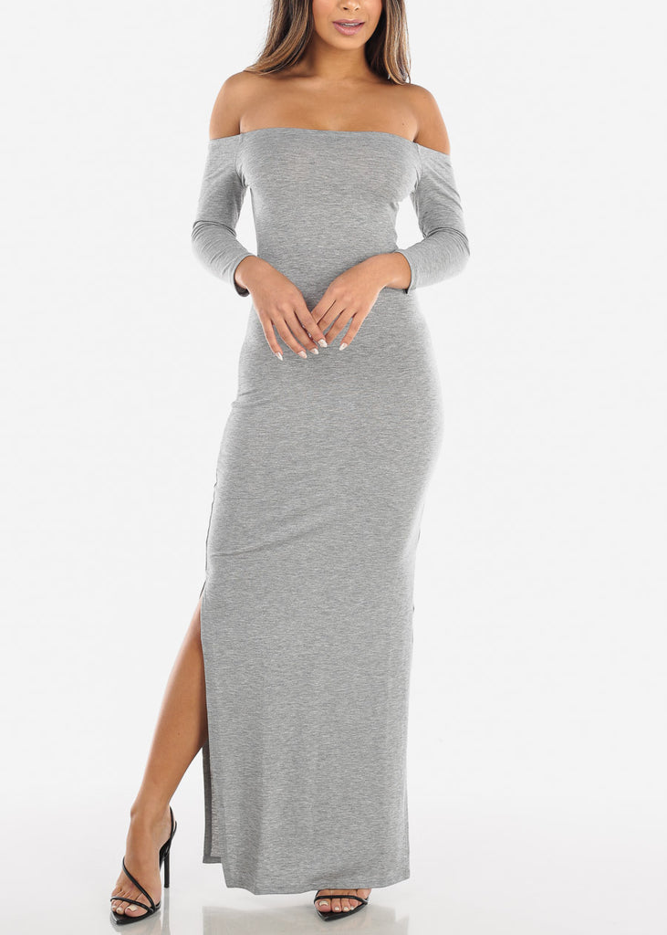 Light Grey Off Shoulder Maxi Dress