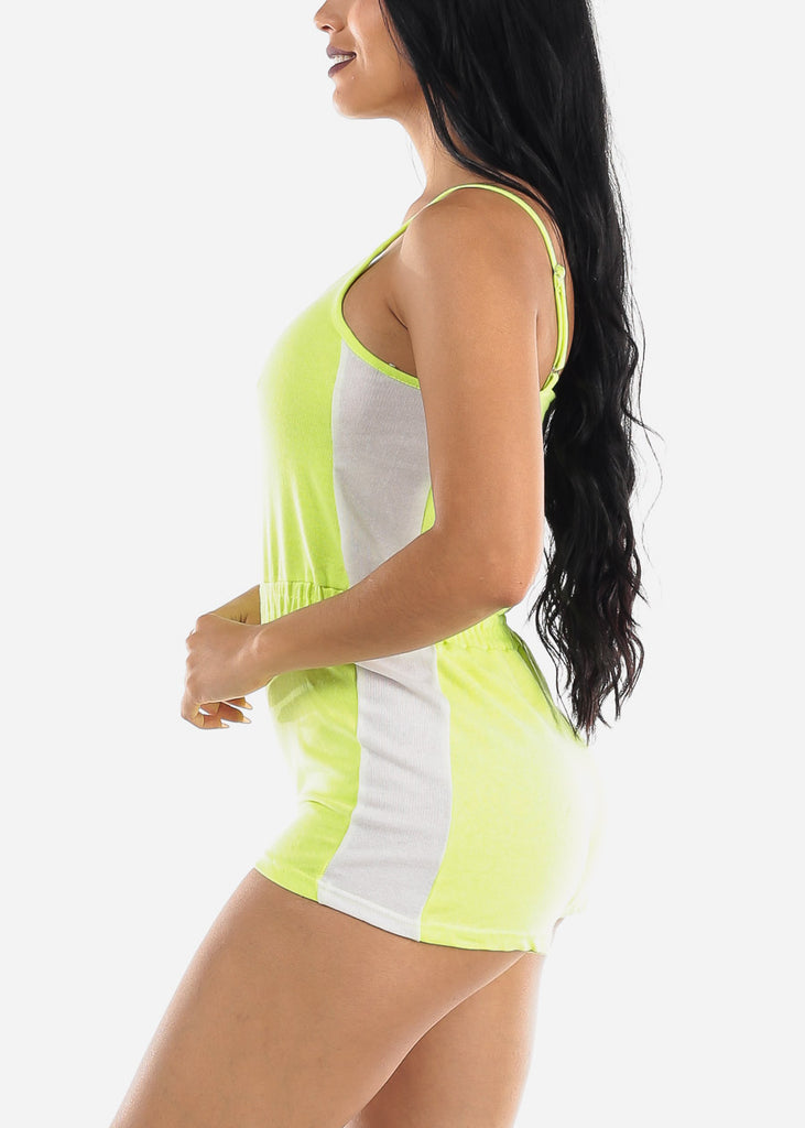 Sleeveless Neon Yellow & White Romper
