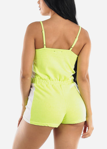 Image of Sleeveless Neon Yellow & White Romper
