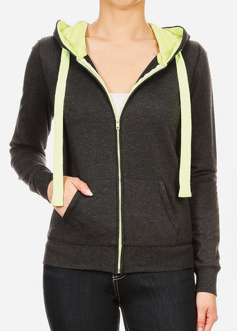 Zip Up Charcoal Hoodie