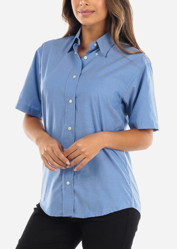 Short Sleeve Blue Oxford Shirt