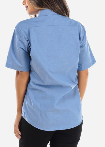 Image of Short Sleeve Blue Oxford Shirt