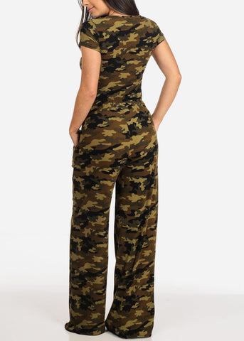 Women's Junior Ladies Casual Stylish Pull On Comfortable Stretchy Camouflage Army Print Jumper Jumpsuit