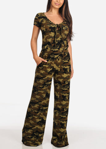 Image of Women's Junior Ladies Casual Stylish Pull On Comfortable Stretchy Camouflage Army Print Jumper Jumpsuit