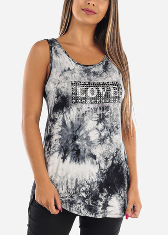 Cute Stretchy Sleeveless Navy Tie Dye Love Rhinestone Long Tunic Top For Women Ladies Junior On Sale