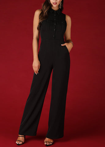 Image of Shirt Collar Buttoned Black Jumpsuit