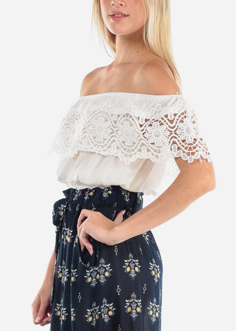 Women's Junior Ladies Cute Must Have Stylish Off Shoulder Crochet Detail Elastic Waist White Crop Top