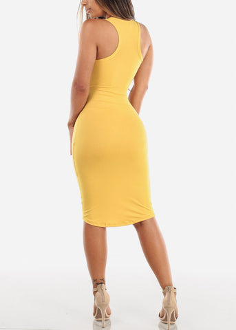 Mustard Bodycon Midi Dress