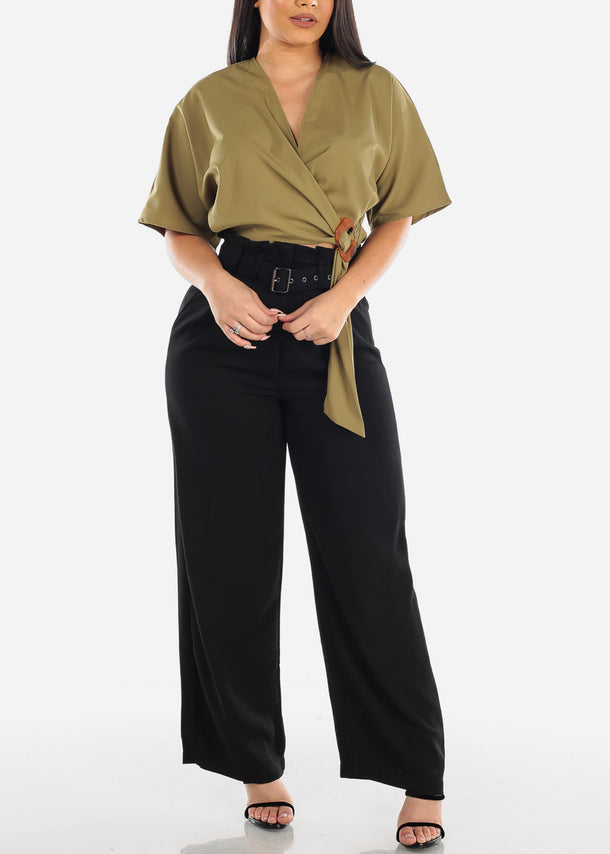 Belted Lightweight High Rise Black Pants at Discount Prices