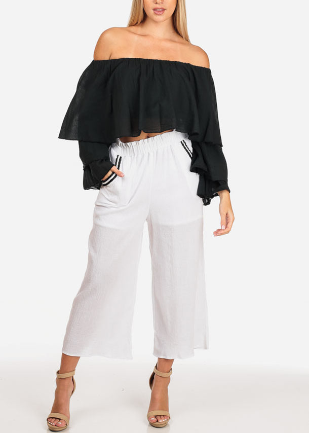 Casual White Cropped Pants