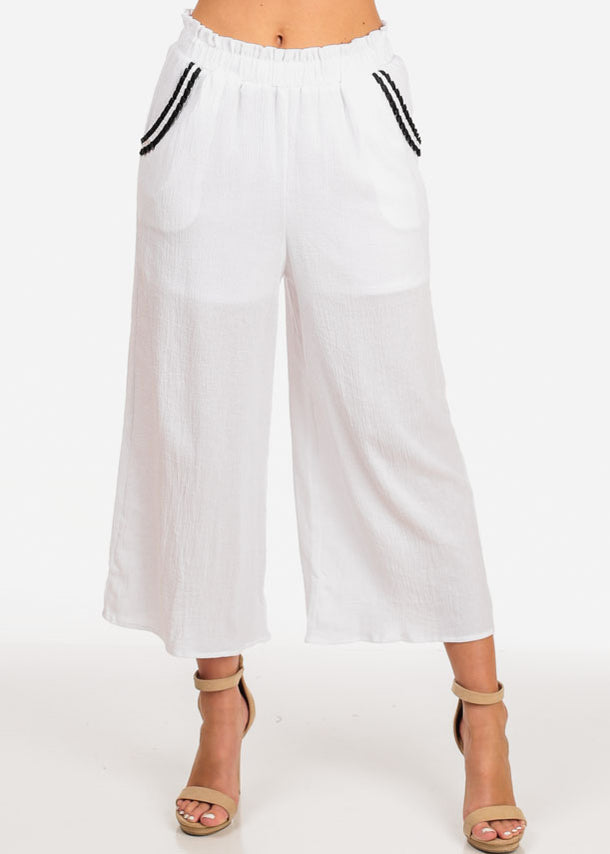 Women's Junior Summer Beach Brunch Vacation Outfit Lightweight Solid White Palazzo Wide Legged Cropped Pants
