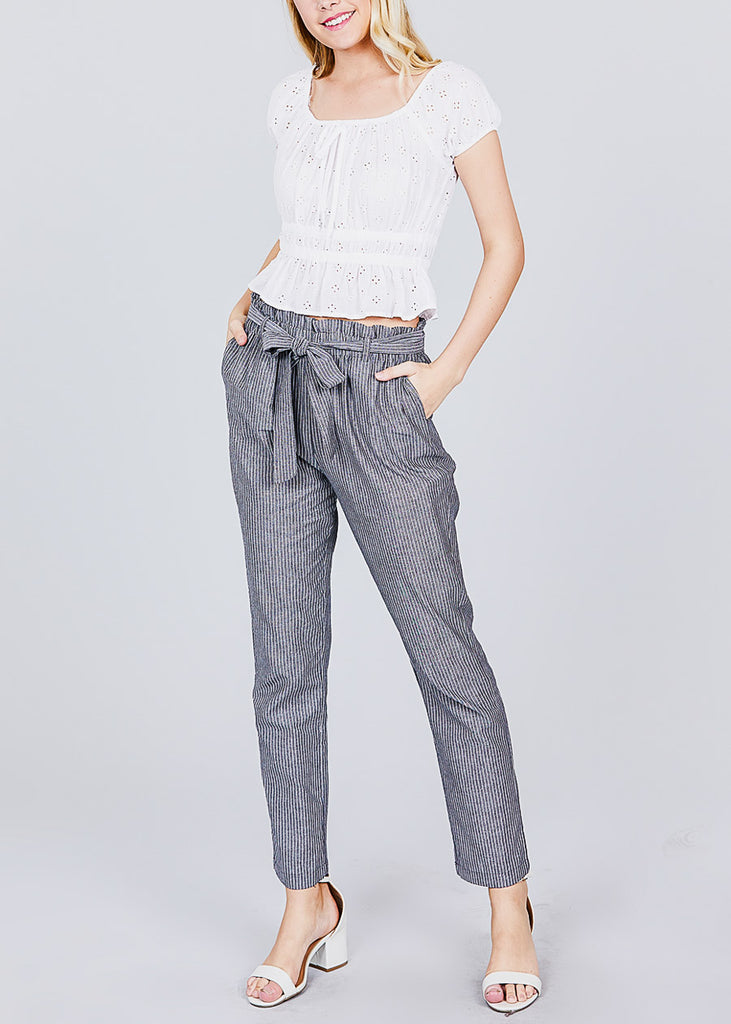 Stripe Grey Paperbag Belted Pants