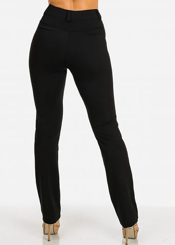 Image of Solid High Waist Dressy Pants (Black)
