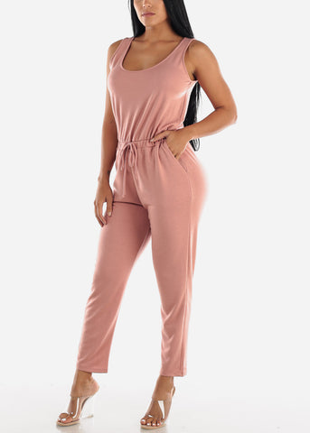 Sleeveless Scoop Neck Mauve Jumpsuit