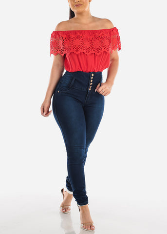 Women's Junior Ladies Cute Must Have Stylish Off Shoulder Crochet Detail Elastic Waist Red Crop Top