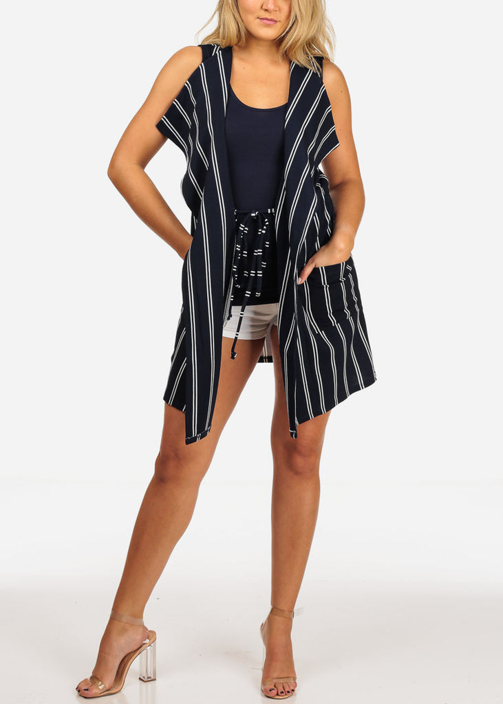 Women's Junior Ladies Sexy Going Out Sleeveless Navy And White Stripe Long Coat Blazer Cardigan