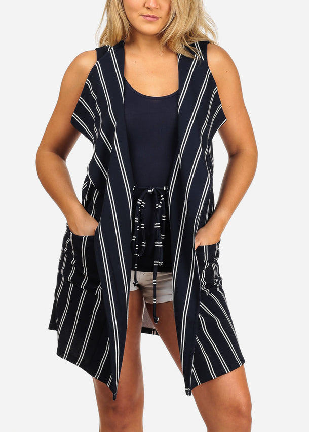 e061d27f5fd Women s Junior Ladies Sexy Going Out Sleeveless Navy And White Stripe Long  Coat Blazer Cardigan ...
