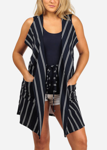 Image of Women's Junior Ladies Sexy Going Out Sleeveless Navy And White Stripe Long Coat Blazer Cardigan
