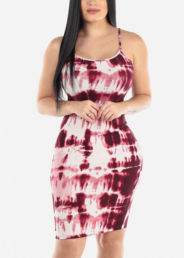 Sleeveless Tie Dye Plum Dress