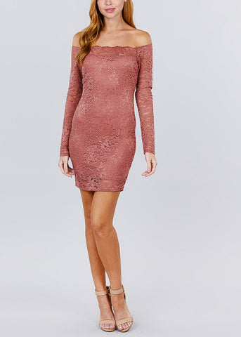 Sexy Off Shoulder Lace Mini Dress