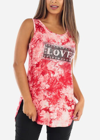 Cute Stretchy Sleeveless Red Tie Dye Love Rhinestone Long Tunic Top For Women Ladies Junior On Sale