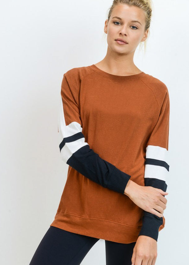 Cotton Colorblock Brown Pullover