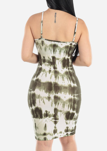 Olive Tie Dye Bodycon Midi Dress