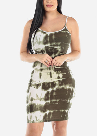 Image of Olive Tie Dye Bodycon Midi Dress