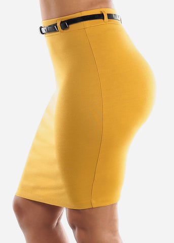 Belted Mustard Pencil Skirt
