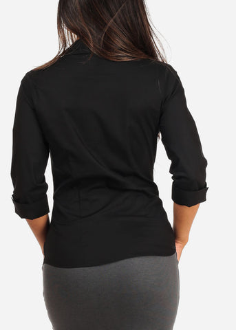 Office Business Wear Button Up 3/4 Sleeve Black Shirt Top